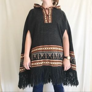 Vintage Trissi's Rustic Boho Poncho with Hood OS